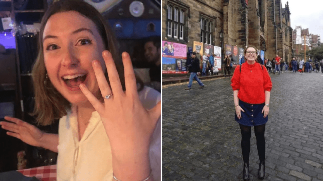 Split image of Rosy with her engagement ring and Rosy standing in a square
