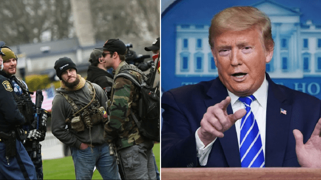 Photo of armed protesters in Michigan next to photo of Donald Trump
