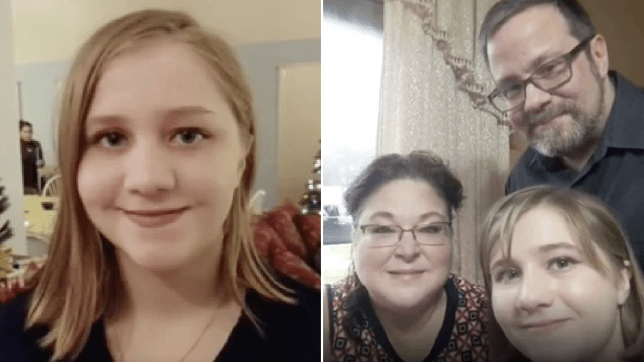Photo of Caitlin Whishnant next to photo of her with her parents