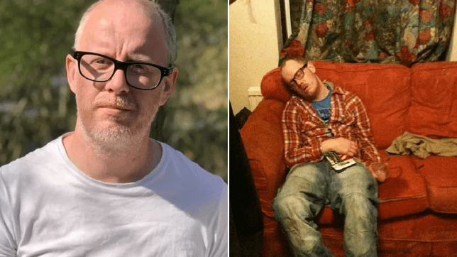 Richard Sparkes in a split image; seen sober and drunk