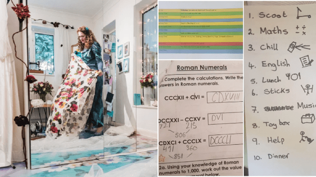 Holly at work and the new homeschool routine for her kids