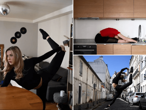 Gorgeous photos show Moulin Rouge dancers practicing at home during Paris lockdown