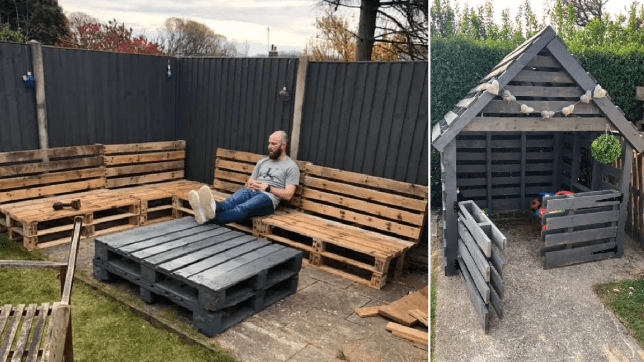 Couple create incredible garden seating and playhouse for just £45 using garden pallets