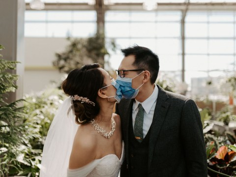 Couple get married in beautiful greenhouse with plants as their guests after coronavirus cancelled their plans for the big day
