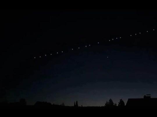 Starlink satellites moving across the sky (Astrit Spanca)