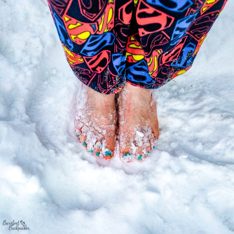 Ian going barefoot in the snow