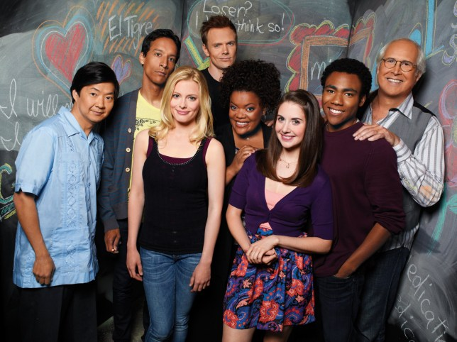 TELEVISION PROGRAMME: COMMUNITY -- Season: 2 -- Pictured: (l-r) Ken Jeong as Sen or Chang, Danny Pudi as Abed, Gillian Jacobs as Britta, Joel McHale as Jeff Winger, Yvette Nicole Brown as Shirley, Alison Brie as Annie, Donald Glover as Troy, Chevy Chase as Pierce -- Photo by: Mitchell Haaseth/NBC