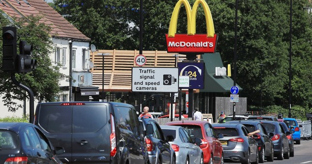 Cars queuing at a McDonald's drive-thru