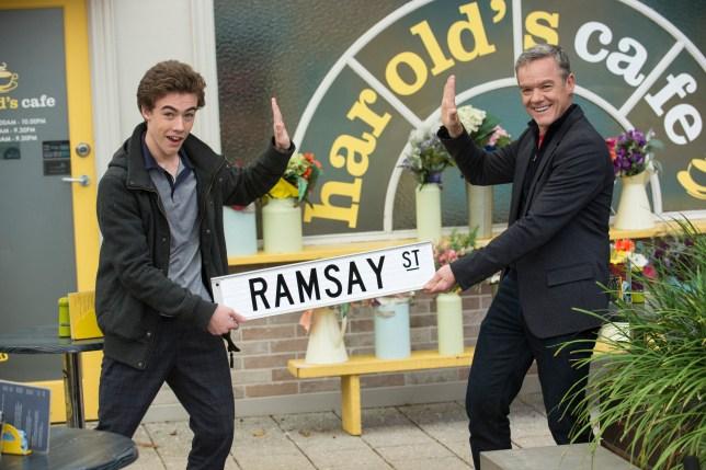 Declan and Stefan Dennis practice social distancing on Neighbours 1-28cd