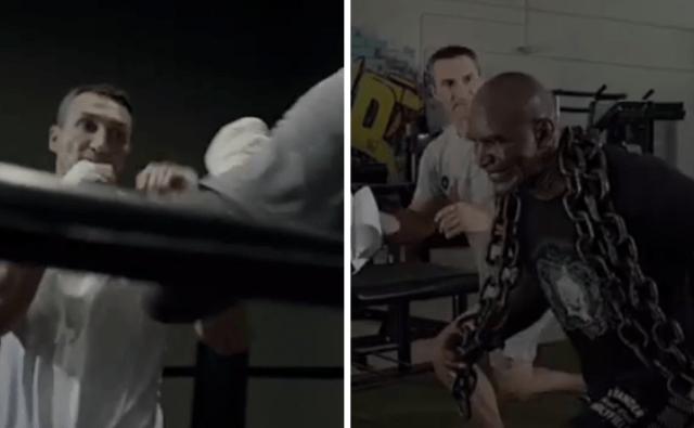 Evander Holyfield spars against Wladimir Klitschko in latest comeback video