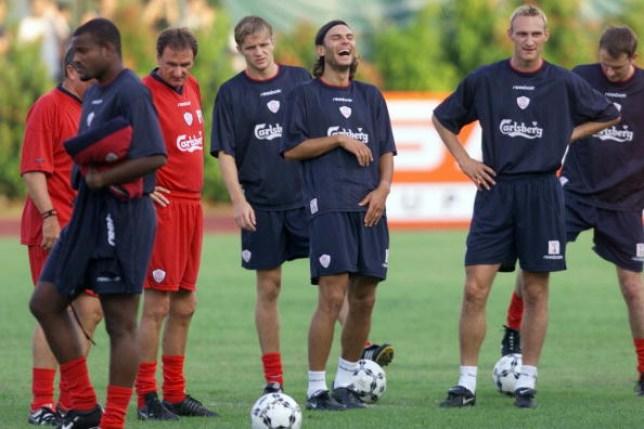 Patrik Berger laughs during Liverpool training