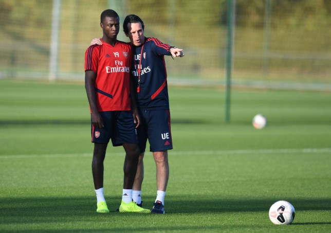 Arsenal star Nicolas Pepe and axed manager Unai Emery