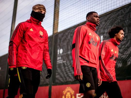 Teden Mengi and Brandon Williams in Manchester United training