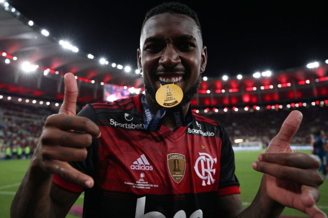 Arsenal and Tottenham transfer target Gerson celebrates after Flamengo's clash with Independiente del Valle