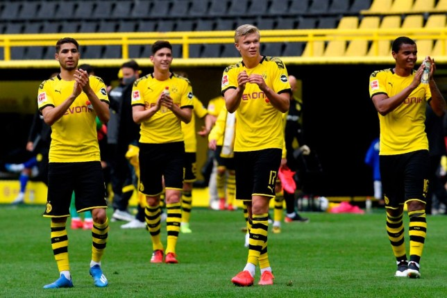 Erling Haaland and Dortmund players applaud fans that aren't there