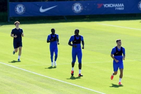 Kepa, N'Golo Kante, Kurt Zouma and Christian Pulisic in Chelsea training on Wednesday