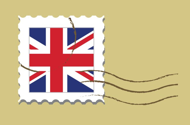 Stamp with UK flag.