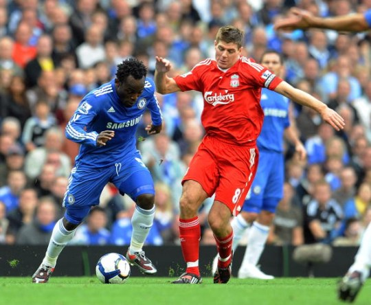 Michael Essien and Steven Gerrard during Chelsea's Premier League clash with Liverpool