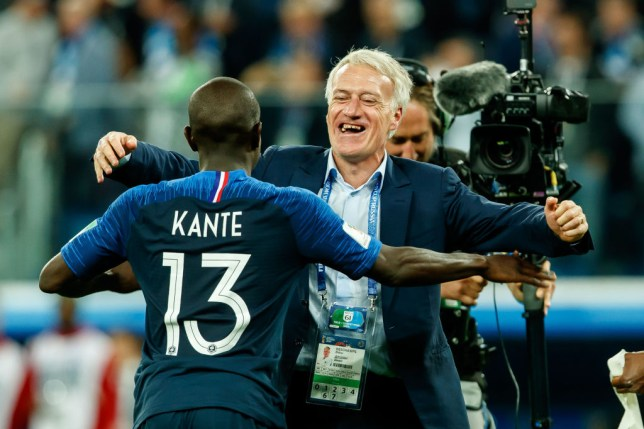 France's N'Golo Kante and Didier Deschamps