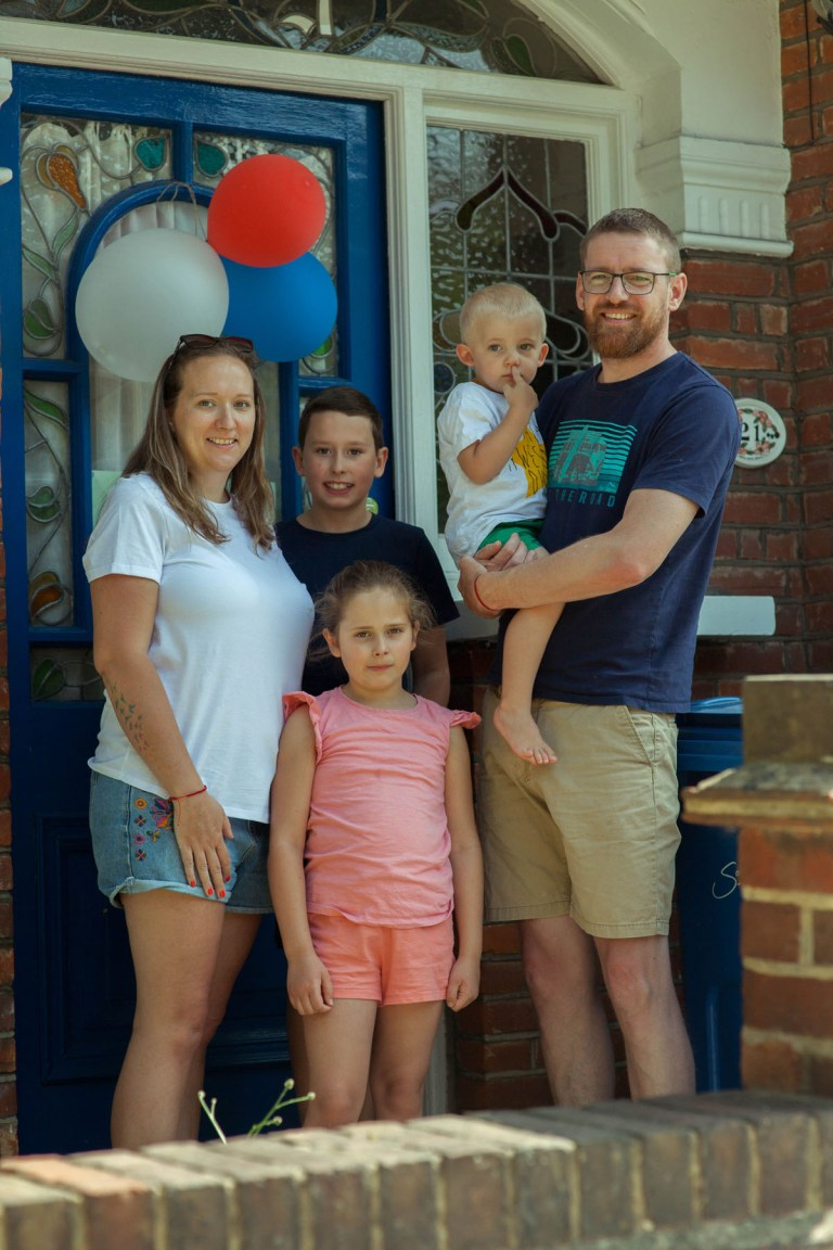 Portrait of Fran Nelson's front door: Leanne, Steve and their three children, Finley, Sophie, Albie