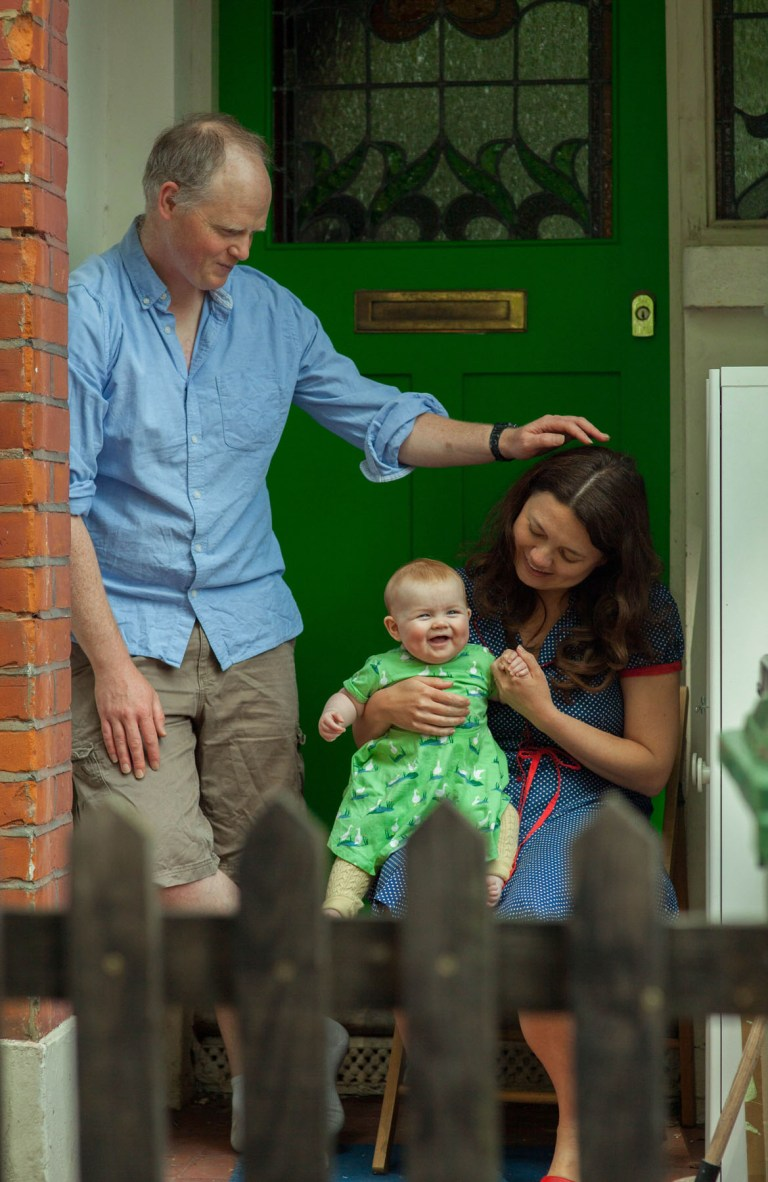 Fran Nelson's doorstep portraits: cecilia, paddy and Willa