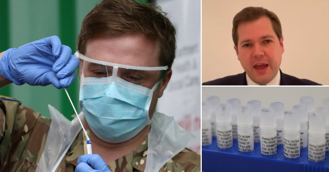 Coronavirus testing site (left) Robert Jenrick (top right) and coronavirus testing samples (bottom right)