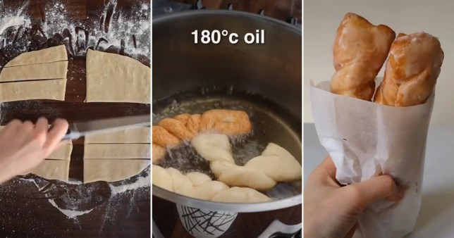 screenshots from the video on how to make a Greggs yum yum