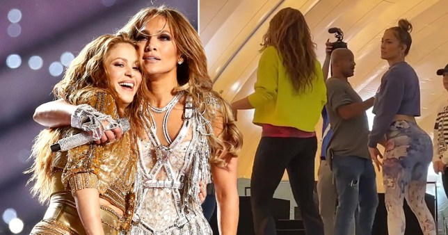 JLo gives Shakira booty shaking lesson in Super Bowl BTS footage