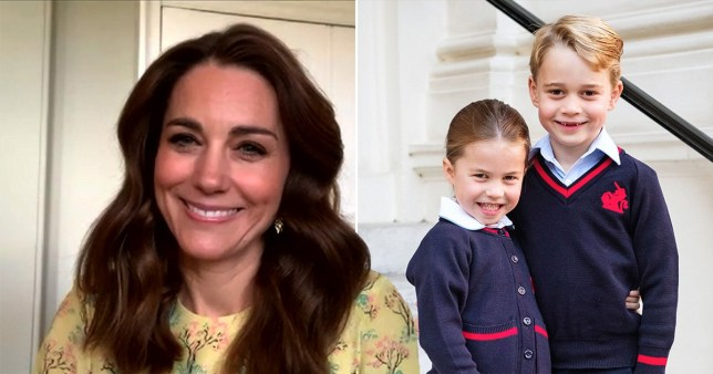 Kate Middleton, Duchess of Cornwall (left) and Princess Charlotte and prince George (right)