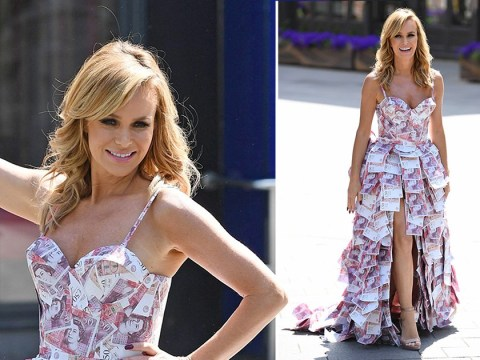 Amanda Holden wears impressive gown made of £50 notes and she truly does look a million dollars