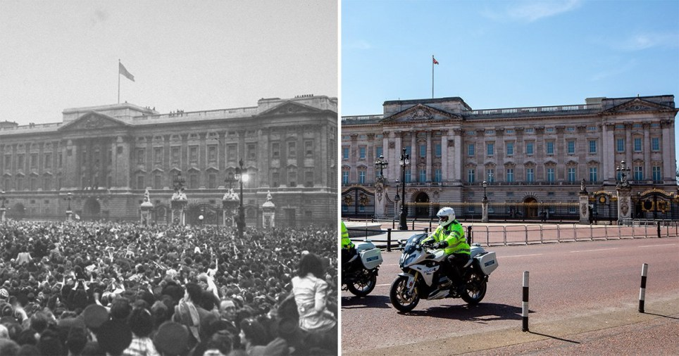 Buckingham Palace then and now