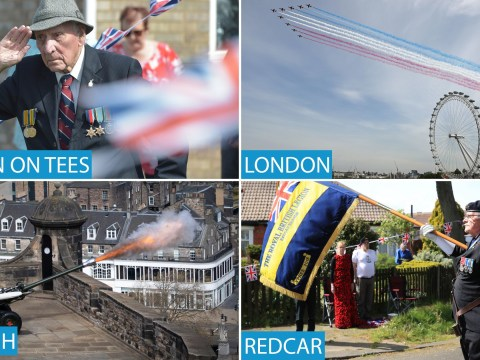 UK falls silent to mark VE Day after Red Arrows fly over London
