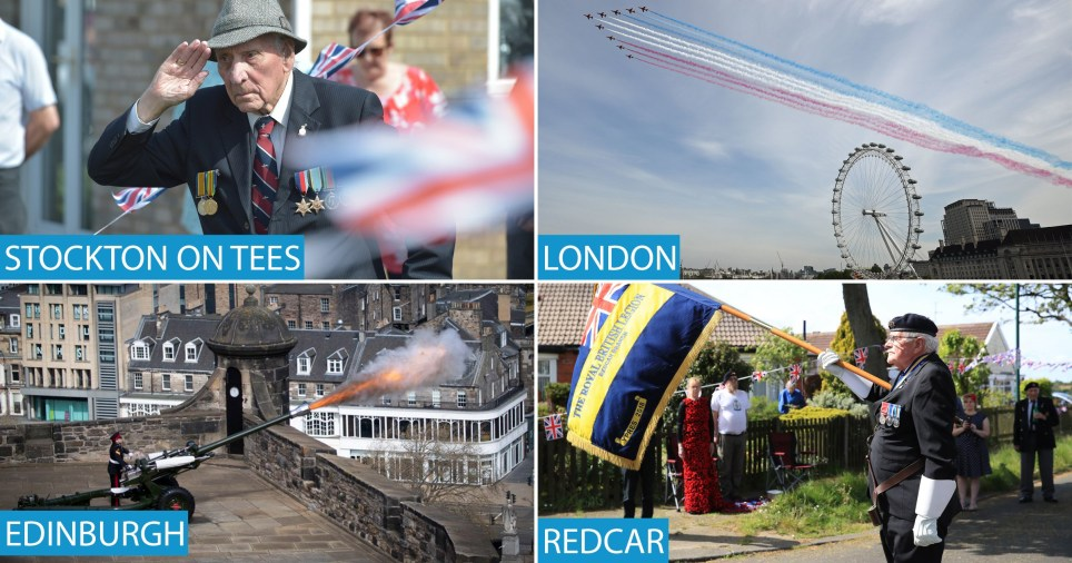 VE Day 75th anniversary marked in London, Edinburgh, Cardiff and Belfast and across the UK with RAF flypast and minute's silence