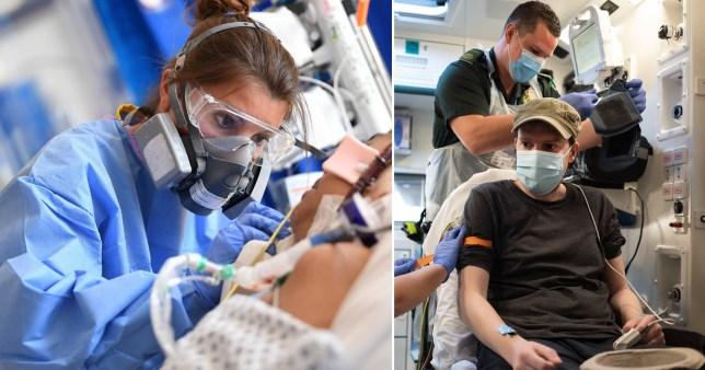 Doctors treat Covid-19 patients as UK death toll rises again