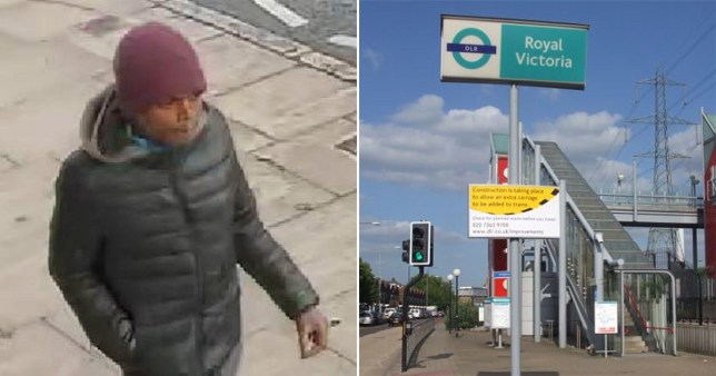 CCTV footage of man detectives are trying to trace after an NHS doctor was assaulted on her way home from work around Royal Victoria DLR Station in east London