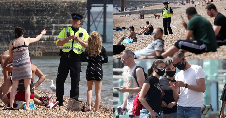 People being turned away from Brighton Beach on May 9, 2020, as police try to enforce coronavirus social distancing rules