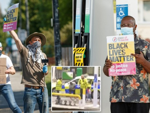 Protest at petrol station where black man was Tasered by police in front of son