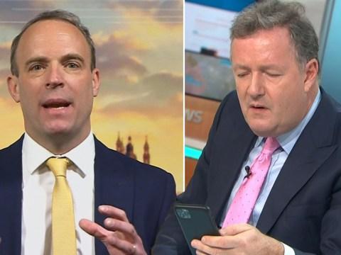 Piers Morgan interrupts GMB to watch Dominic Raab on BBC Breakfast as ministers boycott: 'He's talking gibberish!'