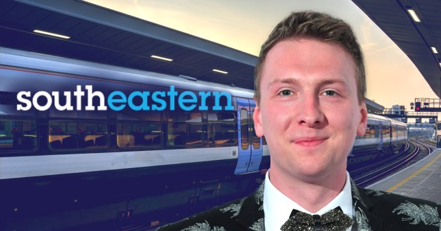 Joe Lycett pictured in front of Southeastern train line