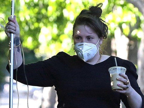 Lena Dunham carries an IV drip during stroll while celebrating her 34th birthday