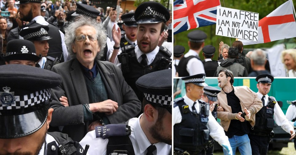 Piers Corbyn lead away in handcuffs by police at the coronavirus protest in Hyde Park