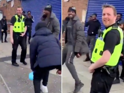 Group pretends to exercise when police catch them chatting outside shop