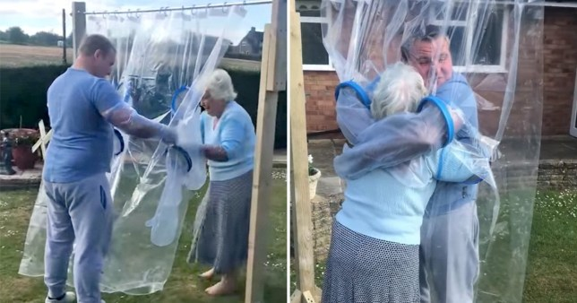 Antony Cauvin hugs his grandmother Lily for the first time in months using his invention, The Cuddle Curtain