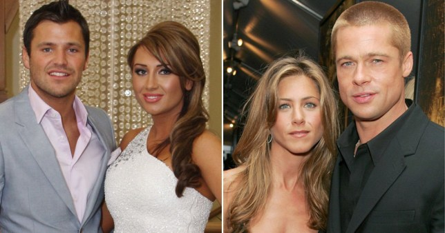 Lauren Goodger and Mark Wright pictured alongside Jennifer Aniston and Brad Pitt