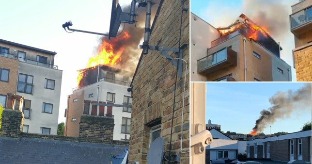 Huge fire at a block of flats in Deptford, south-east London on May 20, 2020