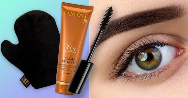 fake tan and eyebrow brush and woman's eyebrows