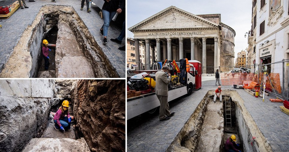 Massive sinkhole opens outside the Pantheon revealing paving stones from 27BC