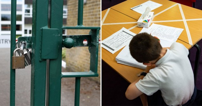 A child works in schools as experts suggest it would be unsafe to reopen them on June 1