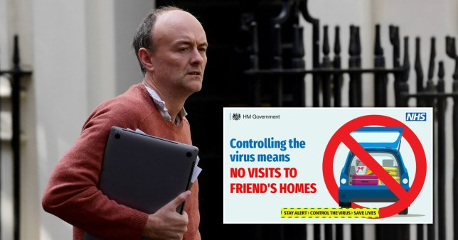 Dominic Cummings outside Number 10 and a Tweet by the British Government urging people not to visit friends during the coronavirus lockdown