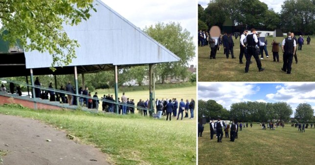 Pictures posted online by Enfield police showed a huge crowd cramming into a football stand